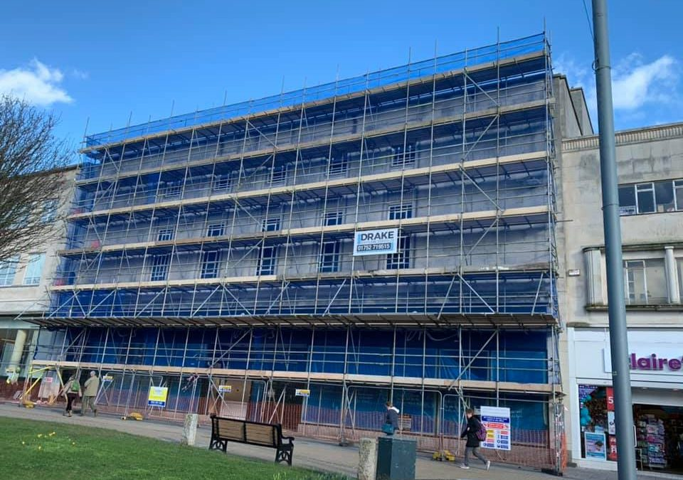 Drake Construct Scaffolding at Plymouth's Former BHS Store