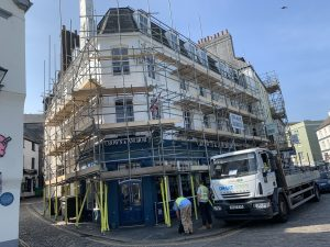Plymouth commercial scaffolding job after