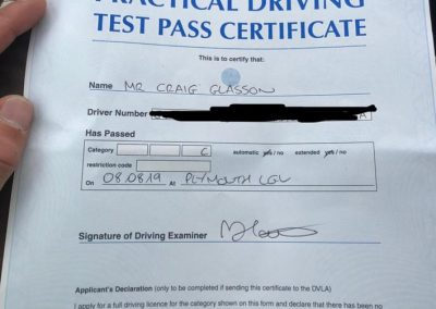 Practical Driving Test Certificate