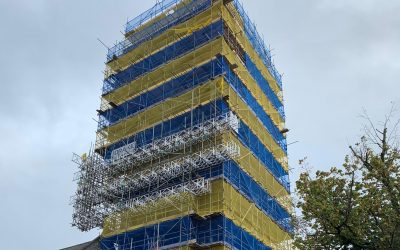 Scaffolding for St Andrews Church Plymouth